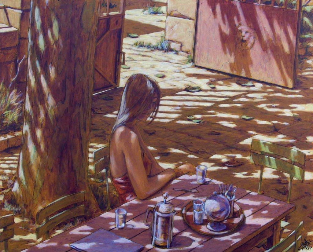 A l'ombre du platane 100X81 2007