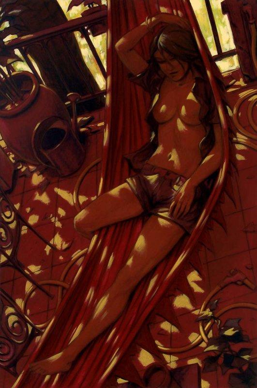 Femme hamac rouge 195X130 2006