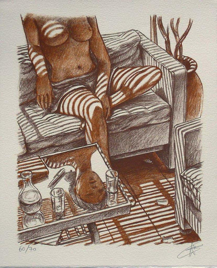 """Lithographie """"femme sans tête"""", 32X25cm, série limitée 70ex"""